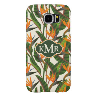 Bird Of Paradise Flower Pattern | Monogram Samsung Galaxy S6 Cases