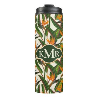 Bird Of Paradise Flower Pattern | Monogram Thermal Tumbler