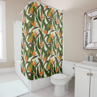 Bird Of Paradise Flower Pattern Shower Curtain