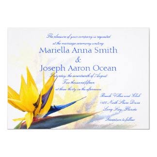 "Bird of Paradise Horizontal Wedding Invitations 5"" X 7"" Invitation Card"