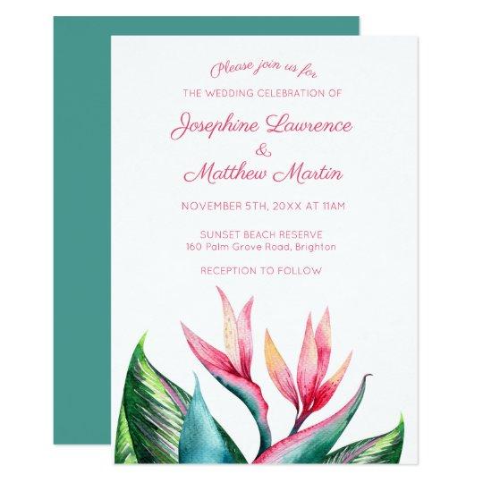 Bird of Paradise Monogram Wedding Invitations