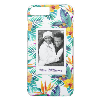Bird Of Paradise & Orchid | Add Your Photo & Name iPhone 8 Plus/7 Plus Case