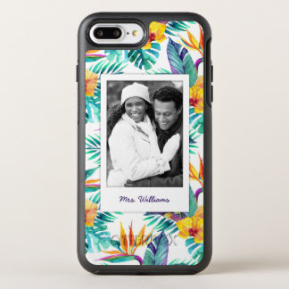 Bird Of Paradise & Orchid | Add Your Photo & Name OtterBox Symmetry iPhone 8 Plus/7 Plus Case