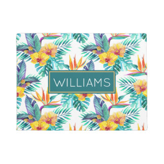 Bird Of Paradise & Orchid Pattern | Add Your Name Doormat