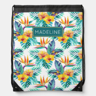 Bird Of Paradise & Orchid Pattern | Add Your Name Drawstring Bag