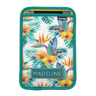 Bird Of Paradise & Orchid Pattern | Add Your Name iPad Mini Sleeve