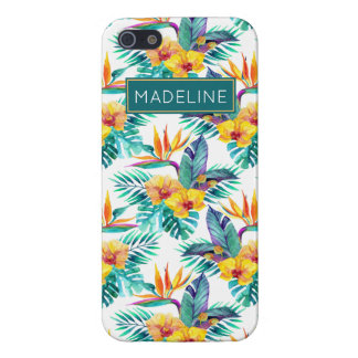 Bird Of Paradise & Orchid Pattern | Add Your Name iPhone 5/5S Cases