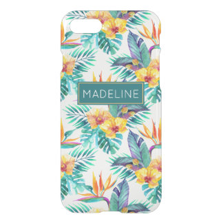 Bird Of Paradise & Orchid Pattern | Add Your Name iPhone 8/7 Case