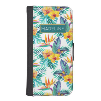Bird Of Paradise & Orchid Pattern | Add Your Name iPhone SE/5/5s Wallet Case