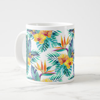 Bird Of Paradise & Orchid Pattern | Add Your Name Large Coffee Mug