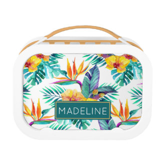 Bird Of Paradise & Orchid Pattern | Add Your Name Lunch Box