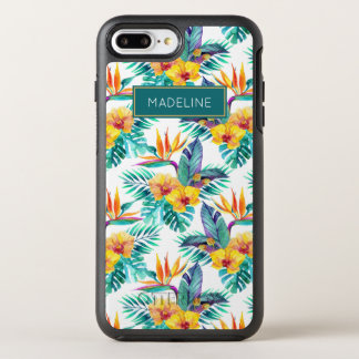 Bird Of Paradise & Orchid Pattern | Add Your Name OtterBox Symmetry iPhone 8 Plus/7 Plus Case