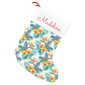 Bird Of Paradise & Orchid Pattern | Add Your Name Small Christmas Stocking