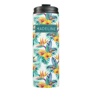 Bird Of Paradise & Orchid Pattern | Add Your Name Thermal Tumbler