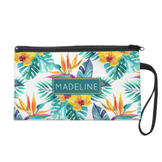 Bird Of Paradise & Orchid Pattern | Add Your Name Wristlet