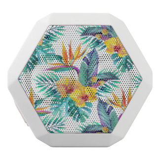 Bird Of Paradise & Orchid Pattern White Bluetooth Speaker