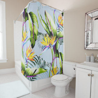 Bird of Paradise Palm Leaves Tropical Accent Shower Curtain