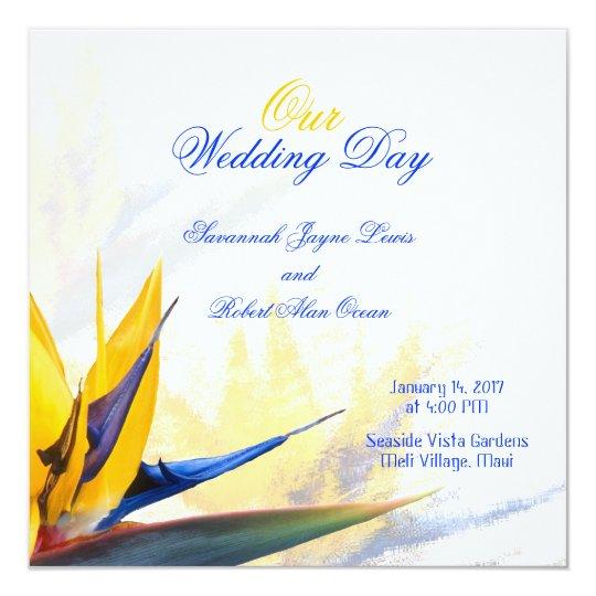Bird of Paradise Square Wedding Program Template