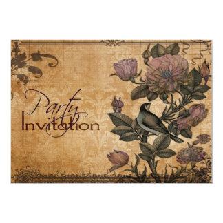 Bird of Paradise Vintage Floral Elegant Party 13 Cm X 18 Cm Invitation Card
