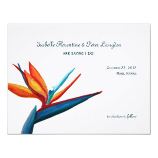 Bird of Paradise Watercolor Save the Date Card 11 Cm X 14 Cm Invitation Card