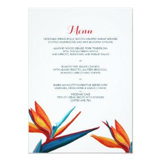 Bird of Paradise Watercolor Wedding Menu Card
