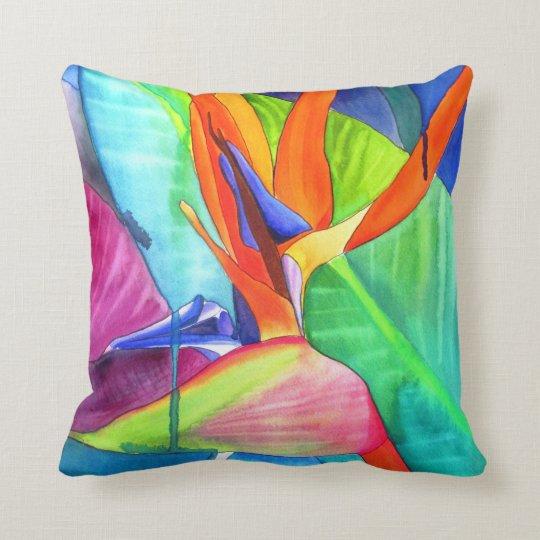 Bird of Paradise watercolour modern flower art Cushion