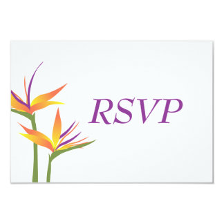 Bird of Paradise Wedding RSVP Card 9 Cm X 13 Cm Invitation Card