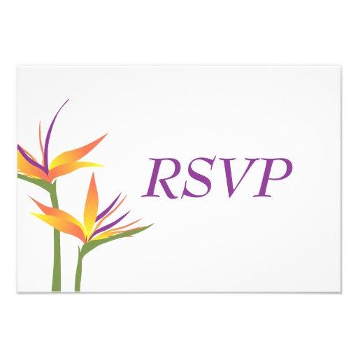 Bird of Paradise Wedding RSVP Card Custom Announcement