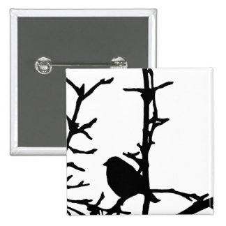 Bird on a Branch 15 Cm Square Badge
