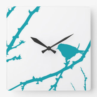 Bird on a Branch Silhouette_Turquoise Square Wall Clock