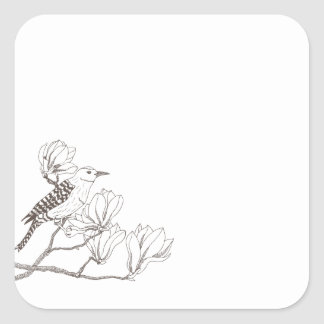 Bird on a Magnolia Branch Sketch Sticker Seal