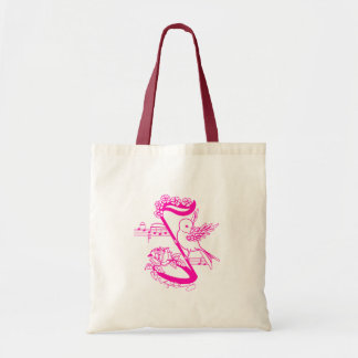 Bird On A Musical Note With Flowers Pink Tote Bag
