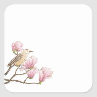 Bird on a Pink Magnolia Branch Sketch Sticker Seal