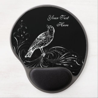 Bird on a Scroll (Black/White) Gel Mouse Pad