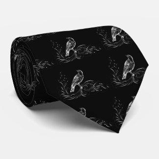 Bird on a Scroll (Black/White) Tie