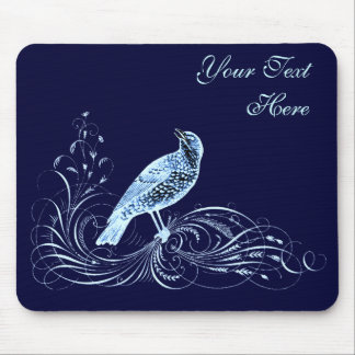 Bird on a Scroll (Blue) Mouse Pad