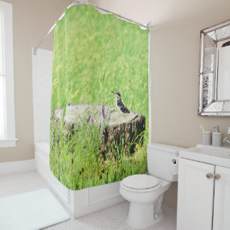 Bird on a Stump Shower Curtain