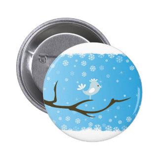 Bird on a tree 6 cm round badge