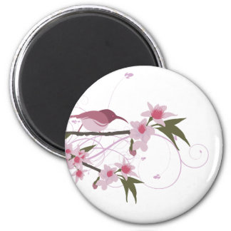 bird on a tree branch with flowers 2 6 cm round magnet
