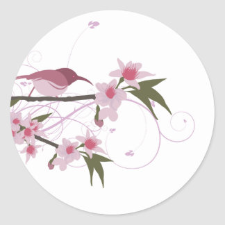 bird on a tree branch with flowers 2 sticker