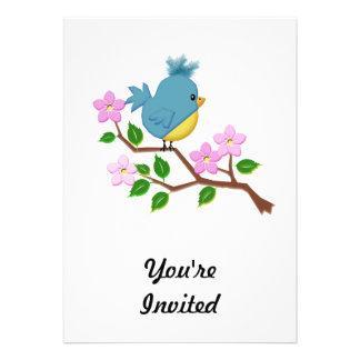 Bird on a Tree Limb with Spring Flowers Card