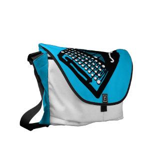 Bird on a Typewriter Bag (blue background) Messenger Bag