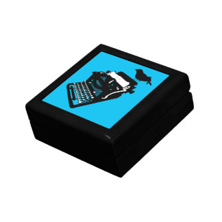 Bird on a Typewriter Gift Box (blue background)