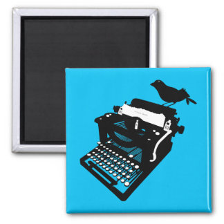 Bird on a Typewriter Magnet (blue background)