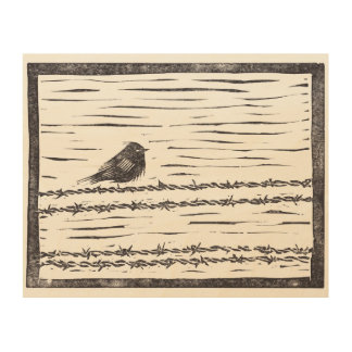 Bird on a Wire - Black and White Wood Print