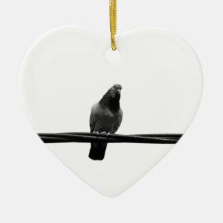 bird on a wire ceramic heart decoration