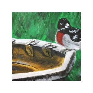 Bird on birdbath gallery wrap canvas