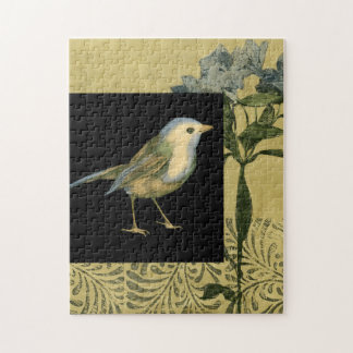 Bird on Black and Vintage Background Jigsaw Puzzle