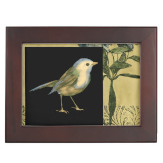 Bird on Black and Vintage Background Memory Box