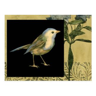 Bird on Black and Vintage Background Postcard
